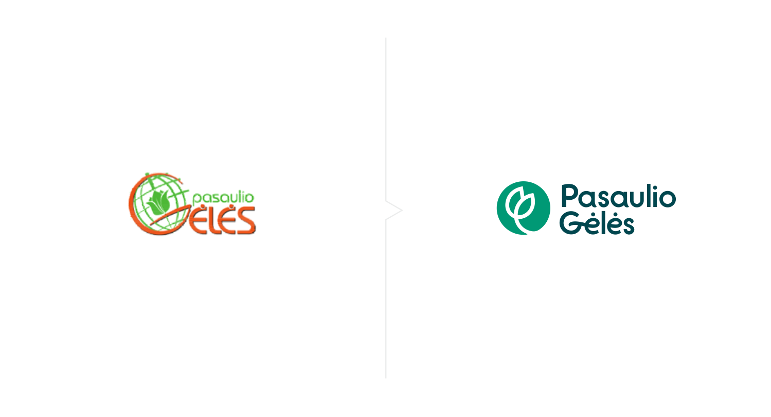 Logo before and after